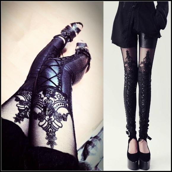 Miss Babydoll Pants - ❤️NEW Sexy Lace Vegan Leather Leggings Pants 3